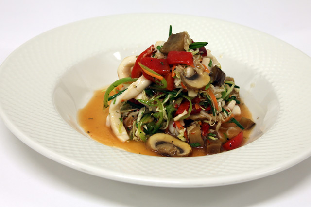Thai style calamari salad with chili, ginger and lime dressing