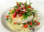 Pan seared rockling fillet served on creamy potato mash with Autumn vegetables, topped with tomato & green olive salsa and seeded mustard vinaigrette